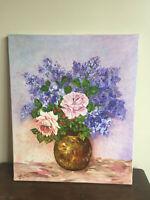 tableau ancien huile sur toile NONETTE (XXe-s) les lilas