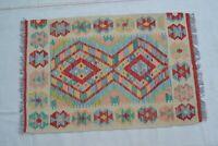 3'1x2' Handwoven Afghan Tribal Kilim Carpet Rug Small Wool Kelim Area Rug #8851