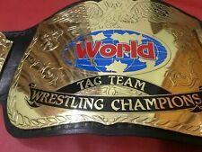 WWF World TAG TEAM CHAMPIONSHIP BELT / 2mm Plates / 100% Leather / Adult Size