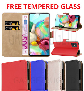 LUXURY CASE FOR SAMSUNG GALAXY A21S REAL GENUINE LEATHER WALLET FLIP + GLASS