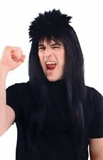 Spiky Black Mullet Rock Star 1970's 70's 80's Punk Wig Fancy Dress P5470