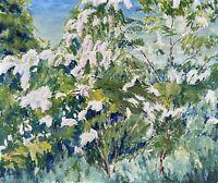 Impressionist Landschaft mit Blühsträuchern am Waldrand Frühling Bäume Blüten