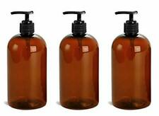 3 Pcs 16 Oz Amber Dispensing Lotion Pump Bottles Black Pumps Refillable