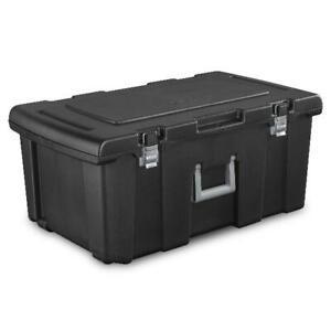 Sterilite Footlocker Plastic Container Box W/ Handle Home Storage Solution Black