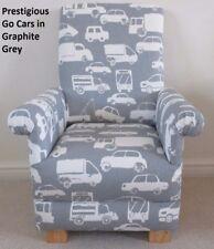 Prestigious Go Cars Grey Fabric Child's Chair Boys Kids Armchair Truck Van Lorry