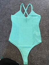 Asos Size 12 Green Knitted Bodysuit With Button Detail BNWT