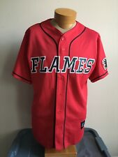 Majestic Men's M NHL Calgary Flames Short Sleeve Button Baseball Sewn Jersey