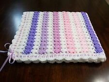 NEW Handmade Crochet Baby Blanket Afghan ( pink white purple )