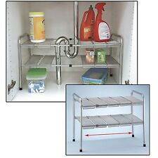Under Sink Shelf Kitchen Organizer Adjustable Storage Shelves 2 Tier Expandable