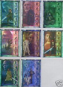 STAR WARS TOPPS ATTACK OF THE CLONES PRISMATIC FOIL INSERT SET 1OF8-8OF8 (8)