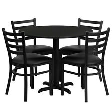 Restaurant Table Chairs 36'' Round Black Laminate w/ 4 Ladder Back Metal Chairs