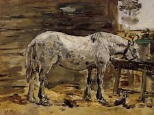 Excellent Oil painting Boudin, Eugene - White Horse at the Feeding Trough