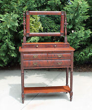 American Empire Flamed Mahogany Dressing Table Vanity w Spiral Twist Legs c1840