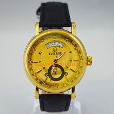 Automatic Mechanic Men's Luxury Gold Skeleton Hollow Black Leather WristWatch