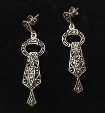 """Sterling Silver Marcasite Dangle Pierced Earrings Posts - 1.75"""""""