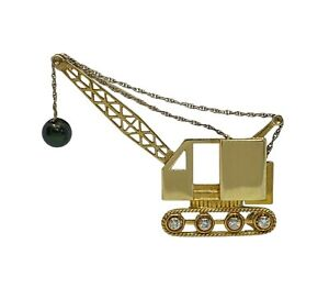 18k Yellow Gold Mobile Crane Brooch With Diamonds Tahitian Pearl Handcrafted Pin