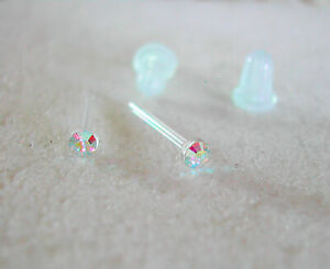 2mm Swarovski Aurora Borealis Crystal Stud Earrings Hypoallergenic NO METAL Tiny