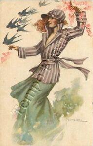 Donna in giardino tra fiori di pesco e rondini - 1919 / illustratore Franzoni