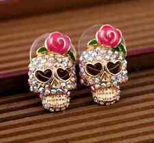 Lady Jewelry Pink Rose Rhinestone Skeleton Skull Ear Studs Earrings Gift 1 pair