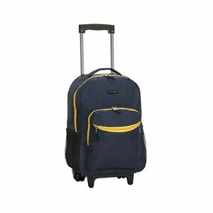 Rockland Double Handle Rolling Backpack 17-Inch Navy