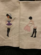 More details for vintage 1930 madeira embroided naughty cocktail napkins
