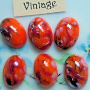 #826S Vintage Cabochons Czech Millefiori Matrix 14x10mm Oval Art Cabs Colorful