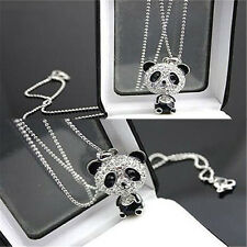 New Panda Pendant Womens Pretty Enamel Rhinestone Girls Long Chain Necklace Gift