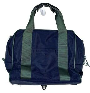 Lands' End canvas messenger laptop bag navy blue briefcase carry on zippered