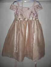 Rare Editions Beige Spring Girls Wedding Dress with Embroidered Flowers Size 5