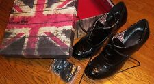 Sz 9.5 Black London Rebel Caleb patent leather heels Laces or Ribbons