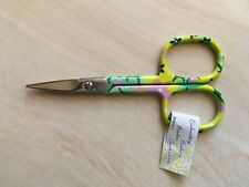 Pretty Floral embroidery scissors green/ yellow 3.75 inch 9 cm