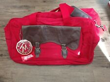 Marlboro Cigarettes country Store Large Red Travel bag w/Brown Leather