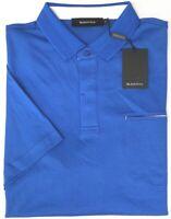 NEW $110 Bugatchi Short Sleeve Polo Shirt Mens Blue Sapphire Pima Cotton