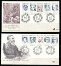 SOUTH AFRICA 1996, NOBEL CENTENARY, PRIZE WINNERS. Sc 955 (10 STAMPS) ON 2 FDC'S