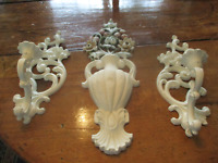 Pair of Syroco candle sconces & wall vase, painted creamy white & shabby