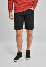 Urban Classics Pantalones Cortos Bermudas Hombre En Sarga De Viscosa Negro