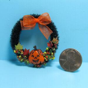Dollhouse Miniature Halloween Door Wreath with Jack O Lantern & Leaves CDL6022