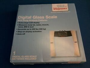 Digital glass scale w-body analysis features: measures body fat, muscle, BMI,New