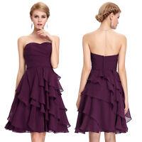 Kurz Chiffon Brautkleid Abendkleid Ballkleid Hochzeitskleid Gr.32/34/36/38/40/42