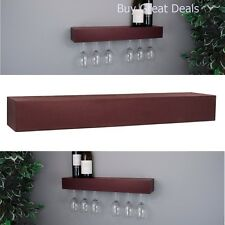 Wine Glass Rack Storage Shelf 6 Holder 24x3x5-In Wall Mount Hanging Espresso Set
