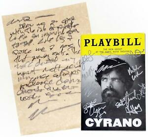 Full Cast Peter Dinklage Signed CYRANO Playbill + Prop Letter