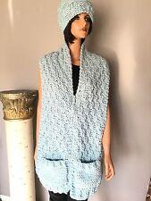 Hand Knits Set Hat Shawl Scarf Seafoam Aqua Designer Fashion Winter Ski Snowboa