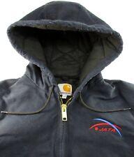 Carhartt Men Hooded Jacket Size S Blue Brass Zipper Draw String Kangaroo Pockets