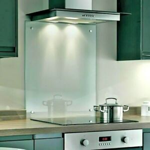 Clear Toughened Heat Resistant Kitchen Glass Splashback with Holes & Screws