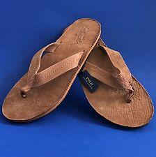 NWT Polo Ralph Lauren Men's Edgemont Big Pony Suede Leather Flip Flop Sandals