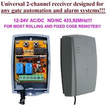 Universal 433,92MHz 2-ch receptor, rolling & fixed code 12-24V DC, COM/N.O