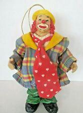 Vintage Clown Christmas Ornament Clothtique Possible Dreams 6 inch Plaid Jacket