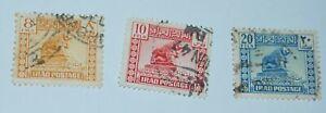 IRAQI KINGDOM. 1941-1947, lot of 3 used stamps (Lion of Babylon)