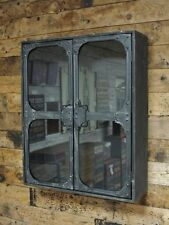 Industrial Metal Glass Wall Cabinet Storage 2 Door Shelf Display Shelving Unit
