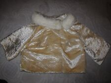 Vtg House of Nine cropped yellow velvet half sleeve jacket w rabbit fur collar